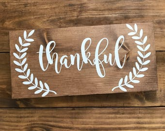 Rustic Thankful Wood Sign