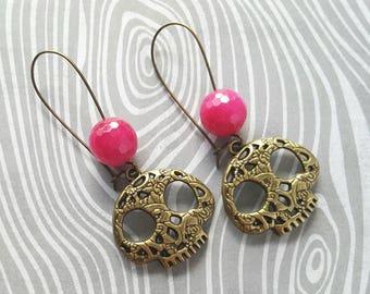 Sugar Skull Dangle Earrings (Bronze)