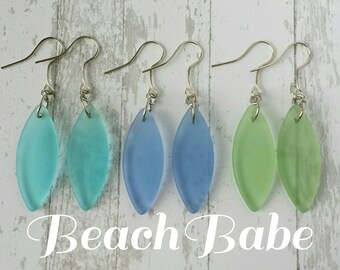 Sea Glass Beachy Marquise Dangle Earrings (Silver)