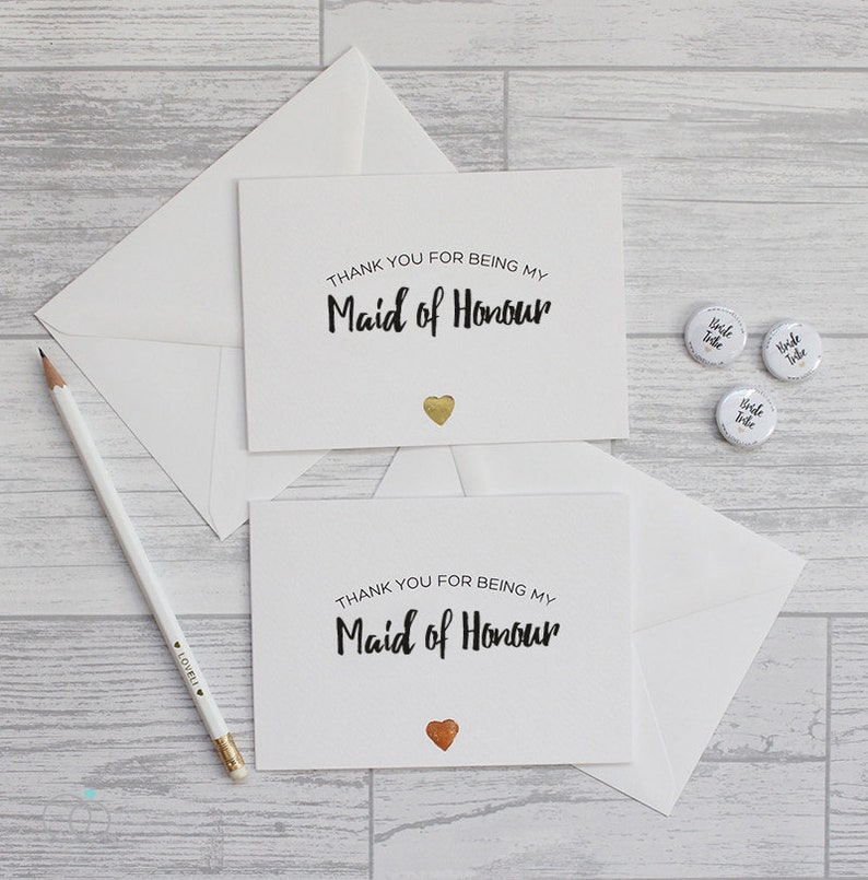 Maid of Honour Foiled Heart Card Maid of Honour Thank You Card