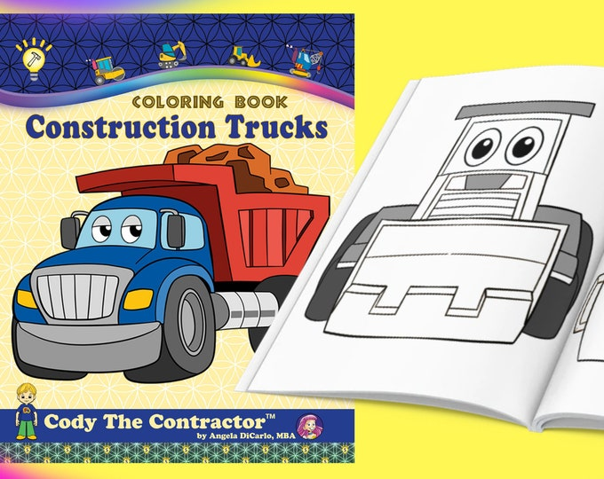 Construction Trucks Coloring book for adults, kids & toddlers: activity books for Boys, Girls, Preschool, Age 2-4 5-8 - Print or Digital