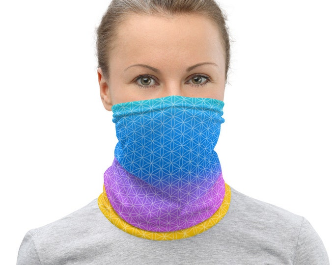 Pastel Flower of Life Neck Band - Face Mask Covers