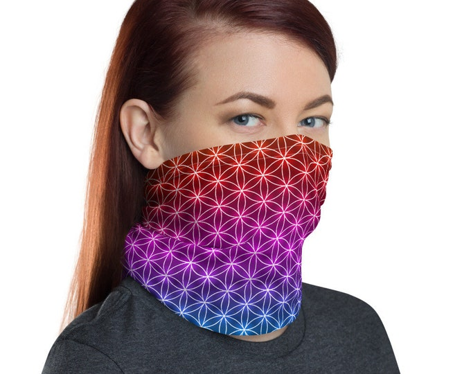 Flower of Life Neck Gaiter - Wear Over Face Mask