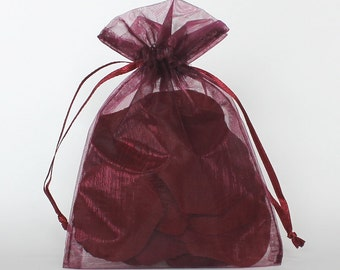 Organza Gift Bags, Plum Sheer Favor Bags with Drawstring for Packaging, pack of 50