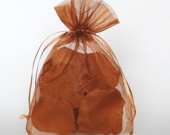 Organza Gift Bags, Copper Sheer Favor Bags with Drawstring for Packaging, pack of 50