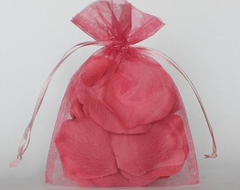 Organza Gift Bags, Mauve Sheer Favor Bags with Drawstring for Packaging, pack of 50