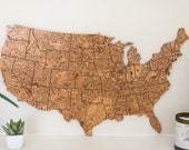 Travel Map US - Medium Size / Made of Cork / US Adventure Map / Gift for Travel Lover / Adventure Lover Decor