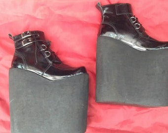 Huge platform boots/ Patent platform boots/ designer shoes/ custom shoes/ custom boots/ 20 cm platform boots