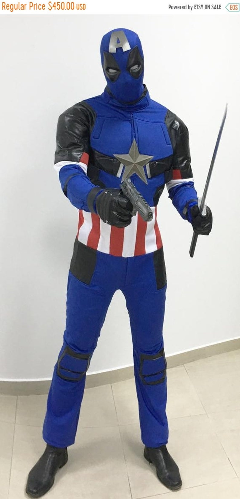 sale Blue Deadpool Captain America costume cosplay costume image 0