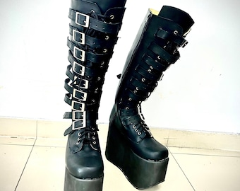 High platform boots for Women/Leather boots/Leather boots with clasps/Gothic boots/Steampunk boots/Steampunk boots/Designer leather boots