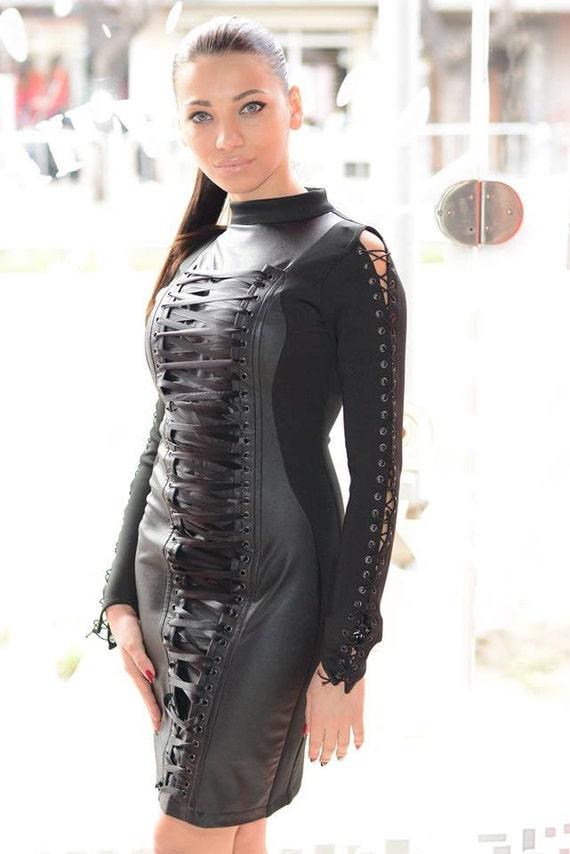 Designer Leather Dressblack Leather Dresssexy Leather Etsy