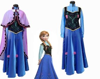 Anna Frozen dress with cap/ Anna Frozen dress/Girls and women Anna From Frozen complete costume/Complete Anna from Frozen costume