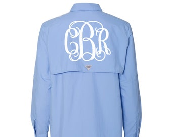 641bbe34aa Monogrammed Columbia Ladies PFG Bahama Long Sleeve Fishing Shirt - White  Cap Blue