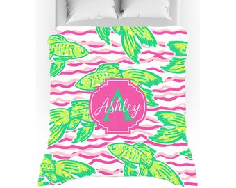 Pink Waves & Preppy Fish Personalized Duvet Cover - Twin, Queen, King - Optional Pillow Shams