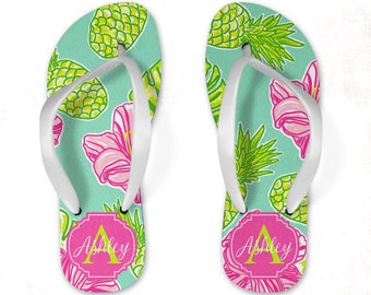 f16239ae546862 Preppy Hawaiian Personalized Flip Flops - Adult or Youth Sizes Available