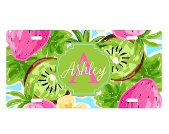 Personalized Preppy Strawberry Kiwi License Plate - Pink, Blue, Green - Aluminum