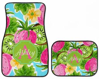 Preppy Strawberry Kiwi Personalized Car Floor Mats