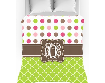 Pink, Green, & Brown Quatrefoil Polka Dots Monogrammed Duvet Cover - Twin, Queen, King - Optional Pillow Shams
