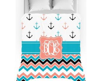 Aqua Blue & Coral Chevron Anchor Monogrammed Duvet Cover - Twin, Queen, King - Optional Pillow Shams
