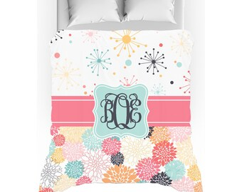 Coral, Mint, Pink Retro Stars & Flowers Monogrammed Duvet Cover - Twin, Queen, King - Optional Pillow Shams