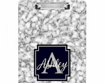 Personalized Black/White Marble Pattern Clipboard