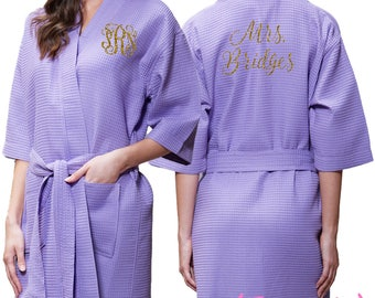6085883fce Lavender Waffle Robe - Glitter Monogram Personalization - Bridal Party  Bridesmaid Robe