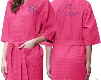 31bbd6c1f6 Fuchsia Pink Waffle Robe - Glitter Monogram Personalization - Bridal Party  Bridesmaid Robe