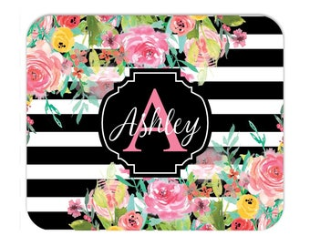 Personalized Floral Stripe Mousepad