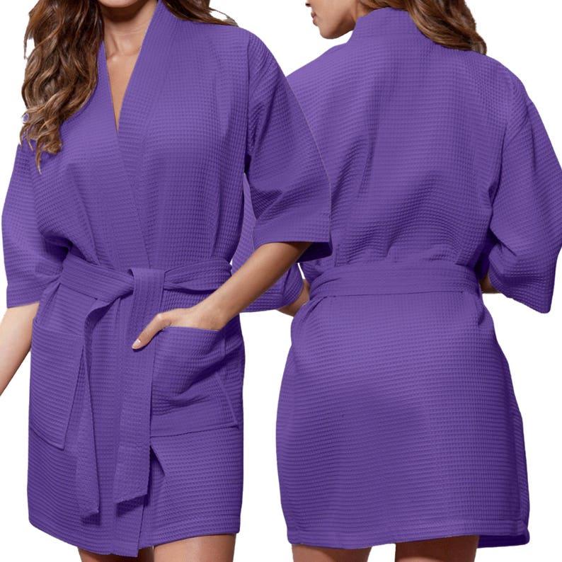 Purple Waffle Robe Bridal Party Bridesmaid Robe Glitter Monogram Personalization