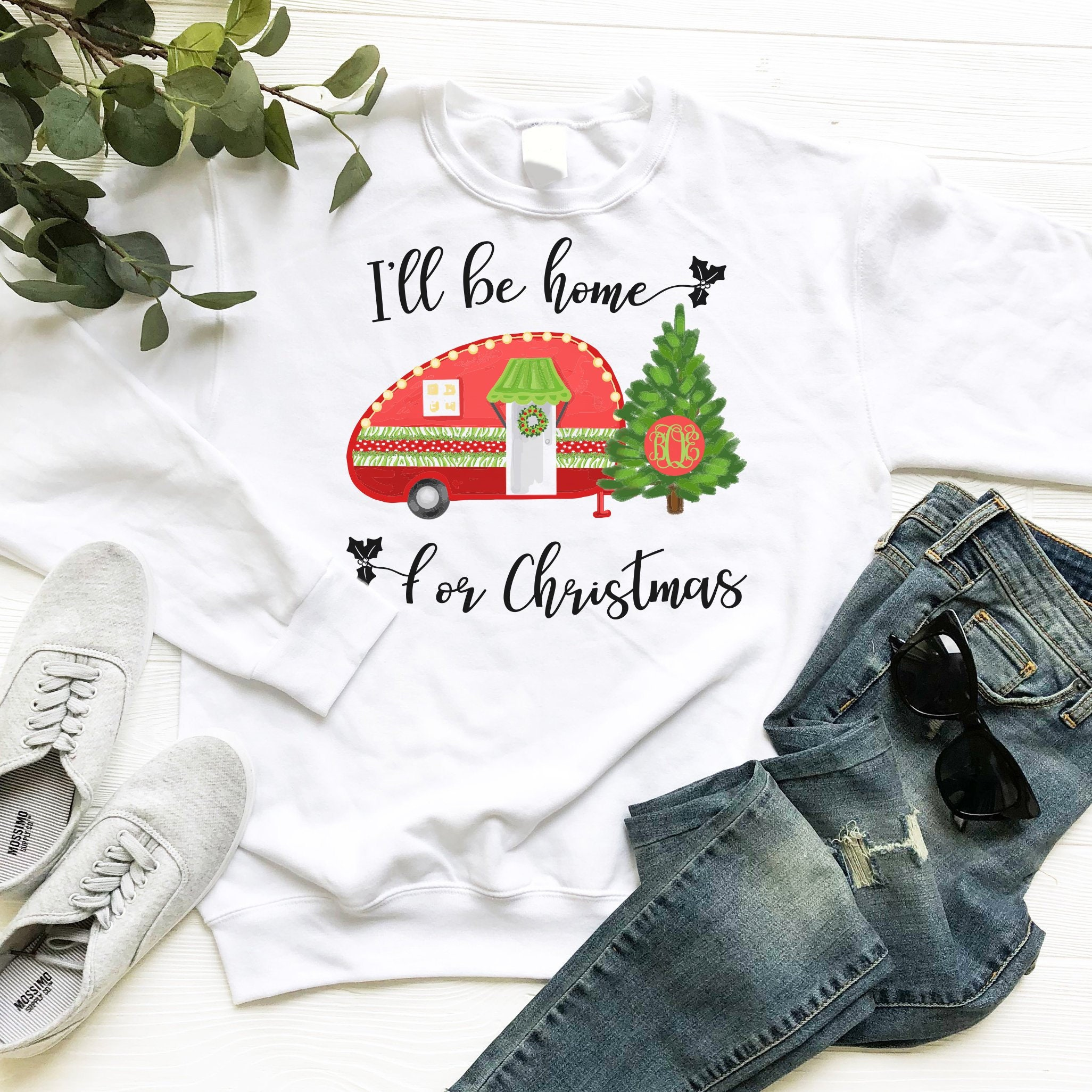I\'ll Be Home for Christmas Monogram Crewneck Sweatshirt | Etsy