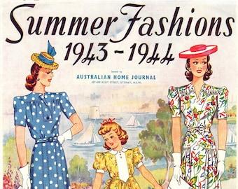 1940s Australian Home Journal Catalog [DIGITAL/PDF] Summer Fashions 1943-44