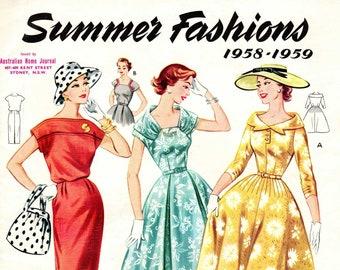 1950s Australian Home Journal Catalog [DIGITAL/PDF] Summer Fashions 1958-59