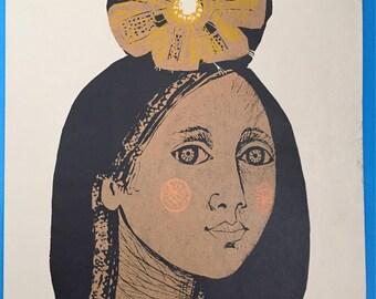 Linocut, linoleum engraving by Gladys Afamado, 1977 - Club de Grabado de Montevideo, Uruguay