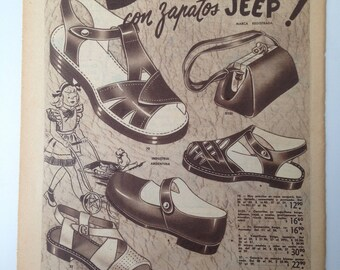 """Girls Shoes """"Jeep"""" Vintage Ad (1948)"""