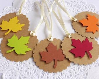 Autumn Leaf Tags, Scallop Tags, Fall in Love Bridal Shower, Autumn Decoration, Fall Wedding,Thanksgiving Decor, Kraft Tags, Autumn Wish Tree