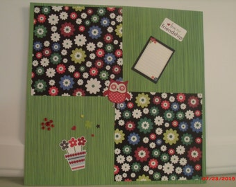 Green button and owl 12x12 pre-made scrapbook page