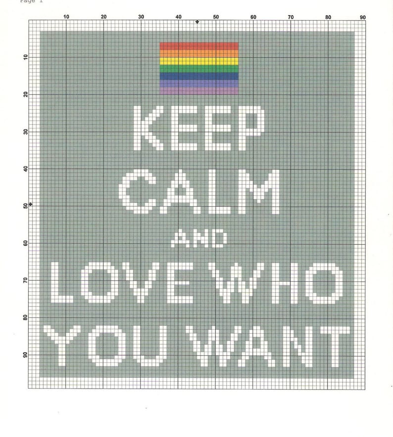 Keep Calm and Love Who You Want  PDF Cross Stitch Pattern image 0