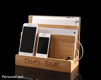Cell Phone DockCharging StationPersonalized ValetWooden Docking Stations Gifts For MenGift Boyfriend Mens Gift Ideasboyfriend