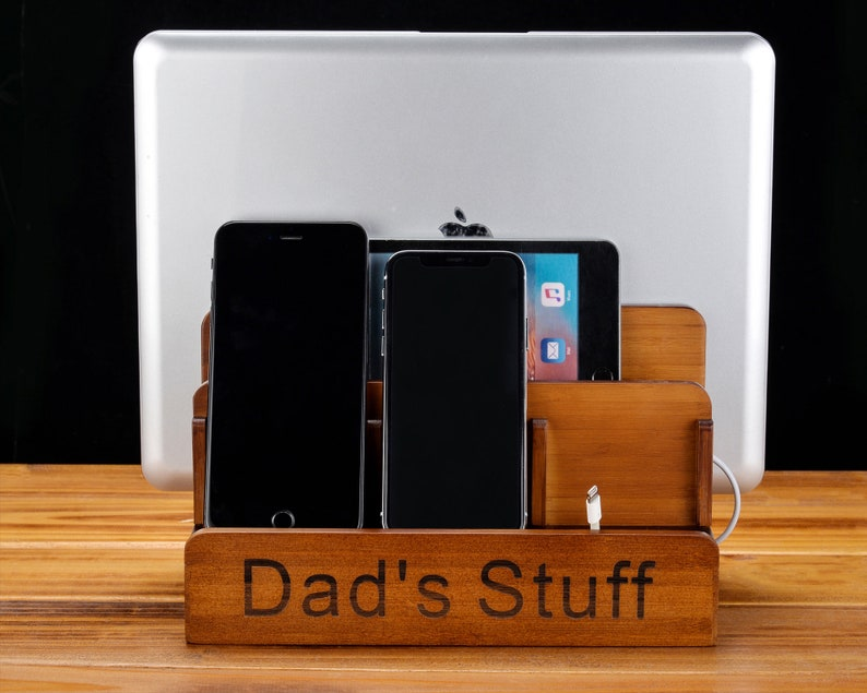 Fathers day gifts IPhone Docking Station Docking Station Anniversary Gift For Him Gifts for Boyfriend Mens Desk Organizer wood valet