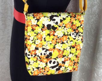 Handmade shoulder bag purse cross body bag The Jane fabric bag Pandas in Flowers