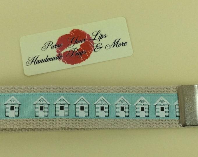 Beach Huts seaside Key Fob Wristlet Key Ring Chain Wrist Strap Lanyard Wedding Favours