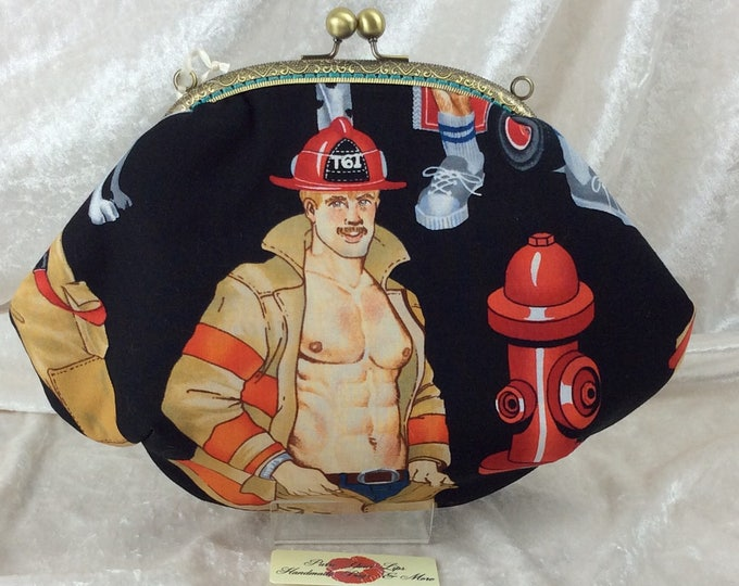 Firefighters Firemen purse bag frame handbag fabric clutch shoulder bag frame purse kiss clasp bag Alexander Henry firemen Ready For Action