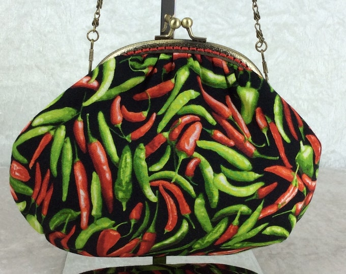 Chillis small frame handbag purse bag fabric clutch shoulder bag frame purse kiss clasp bag Handmade Chilli Peppers