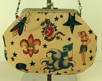 Gothic Tattoo small frame handbag purse bag fabric clutch shoulder bag frame purse kiss clasp bag Handmade Alexander Henry Tattoo