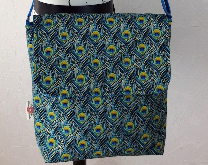 Peacock Feathers shoulder bag purse messenger cross body crossbody travel fabric