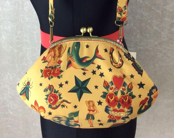 Gothic Tattoos purse bag frame handbag fabric clutch shoulder bag frame purse kiss clasp bag Handmade Alexander Henry