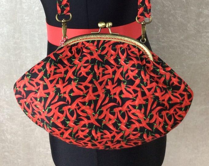 Chillis purse bag frame handbag fabric clutch shoulder bag frame purse kiss clasp bag Handmade Chilli Peppers