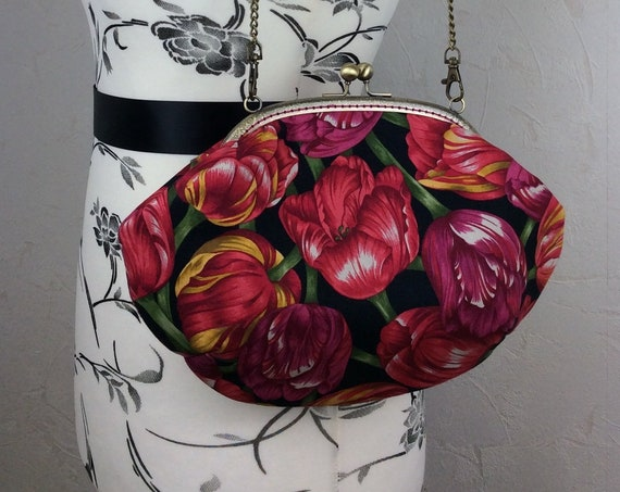 Tulips purse bag frame handbag fabric clutch shoulder bag frame purse kiss clasp bag Handmade Flowers
