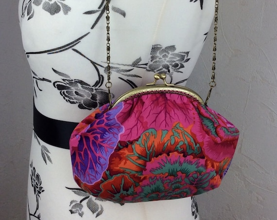 Frame handbag purse bag Cabbages fabric clutch shoulder bag frame purse kiss clasp bag Handmade Kaffe Fassett Philip Jacobs Brassica