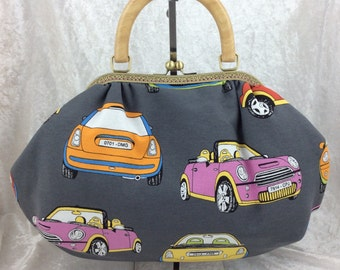 BMW Minis Fabric purse bag frame handbag fabric handbag shoulder bag frame purse kiss clasp bag Handmade Cars